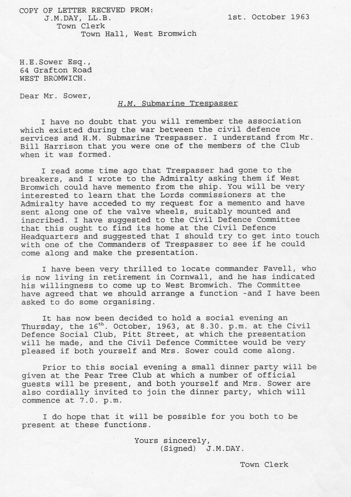 H.M. Submarine Trespasser letter