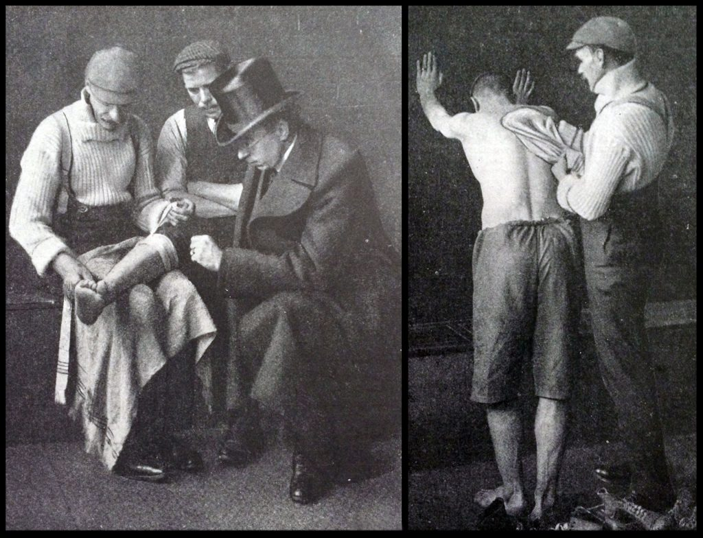 Taken at the Hawthorns ground, it shows the doctor and club trainer inspecting a damaged leg belonging to an West Bromwich player. The photo was first published in the 1905 Book of Football. The caption read: 'The members of a big football team are periodically examined by the doctor, who exercises a kind of general supervision over them, apart from any urgent call that may be made upon him. This is necessary, as prevention is better than cure.' Right 'After the day's exercise and the bath, the player is taken hand in hand by the trainer and vigorously rubbed down, any weak muscle or seat of injury receiving special attention. This most important part of football training keeps the men in perfect health.'
