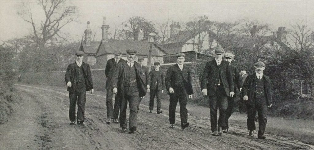 """The average man has but a dim and imperfect idea of the way in which a professional footballer fits himself for his work,"" writes former England and West Brom forward William Bassett in the Book of Football published in 1905. Alongside a photograph of the West Brom team 'out for a training walk', Bassett outlines the typical Edwardian footballer's training regime. Monday was a 'dies non', with players free to do whatever they pleased. Training began on Tuesday, with players reporting at 10am for 'a good walk in the country'. ""They probably cover five or six miles, and do it at a fair pace,"" writes Bassett. ""There is no racing, but also there is no sauntering about."" The above photo by Albert Wilkes Senior shows West Brom's moustachioed trainer, W Barber, leading the training walk. Source from: http://www.victorianfootball.co.uk/tag/albertwilkes/"